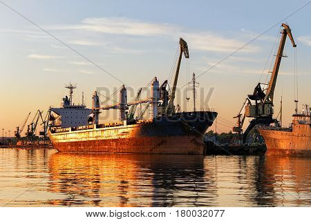 Ships In Baltic Sea Of Port Of Klaipeda