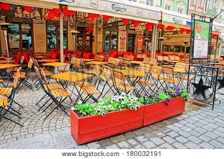 Street Cafe In Old City Center Of Wroclaw
