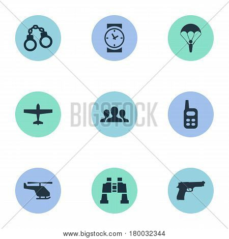 Vector Illustration Set Of Simple War Icons. Elements Helicopter, Pistol, Air Bomber And Other Synonyms Plane, Walkies And Paratrooper.
