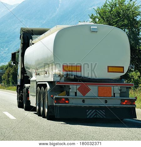Truck On Road In Valais Canton In Switzerland
