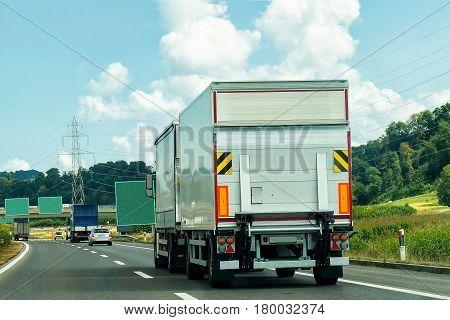 Truck On Road In Canton Geneva Of Switzerland