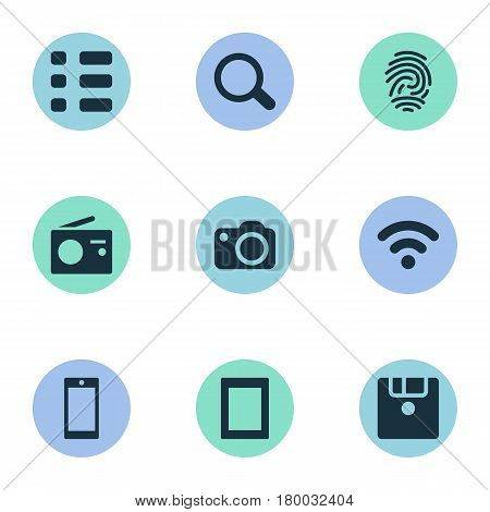 Vector Illustration Set Of Simple Digital Icons. Elements Tuner, Fingerprint, Smartphone And Other Synonyms Fingerprint, Touch And SEO.