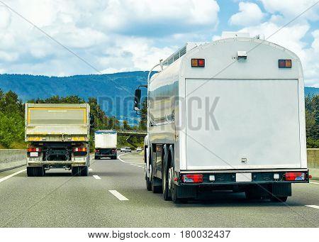 Trucks On Road In Canton Geneva Switzerland