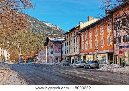 Alps And Street In Bavarian Style At Winter Garmisch Partenkirchen