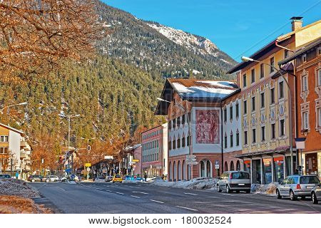 Alps And Street In Bavarian Style In Winter Garmisch Partenkirchen