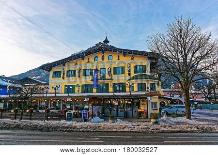 Alps And Street Restaurant At Bavarian Style Winter Garmisch Partenkirchen