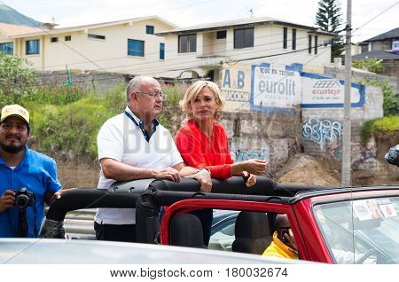 Quito, Ecuador - February 5, 2017: Cynthia Viteri, presidential candidate for the Partido Social Cristiano party, along her binomial Mauricio Pozo, during her campaign rally for the ecuadorian elections