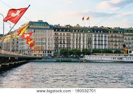 Geneva Lake Mont Blanc Bridge With Flags Geneva City