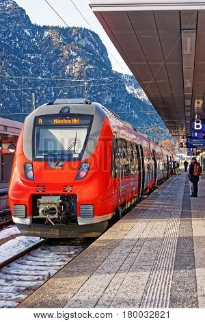 Passengers And High Speed Train At Garmisch Partenkirchen