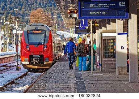 Passengers And High Speed Train Of Garmisch Partenkirchen