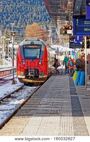 Passengers And Speed Train At Garmisch Partenkirchen