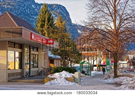 Street With Alpine View In Winter Garmisch Partenkirchen