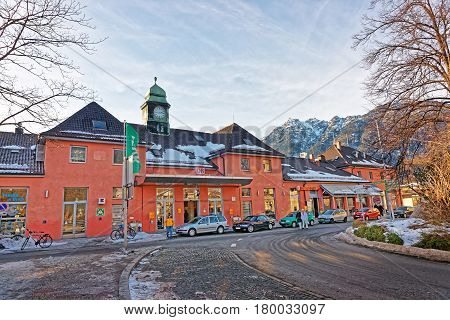 Train Station Building In Garmisch Partenkirchen Old Town