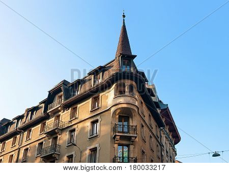 Building Architecture With Spire On Purgatoire Street Geneva