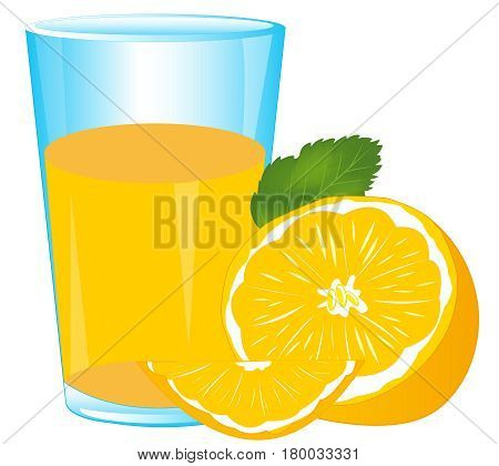 Glass of juice from fruit tangerine on white background