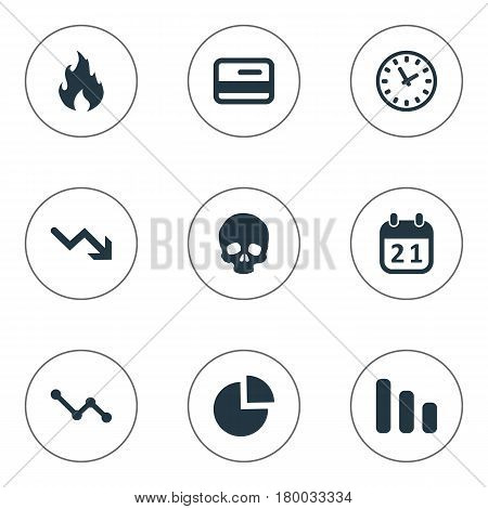 Vector Illustration Set Of Simple Trouble Icons. Elements Circular Diagram, Agenda, Clock And Other Synonyms Skull, Reminder And Blaze.