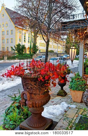 Restaurant Terrace Decorated With Plants For Christmas Garmisch Partenkirchen