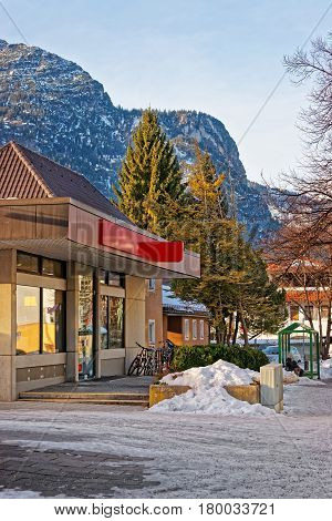 Street With Alpine View In Bavarian Style Winter Garmisch Partenkirchen