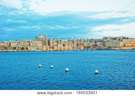 Valletta Skyline With St Paul Cathedral And Bastions In Malta