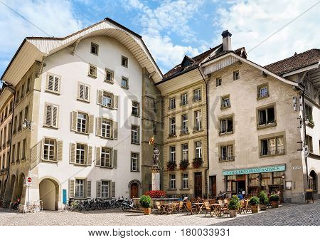 Banneret Fountain And Rathausplatz In Old City Center Of Bern
