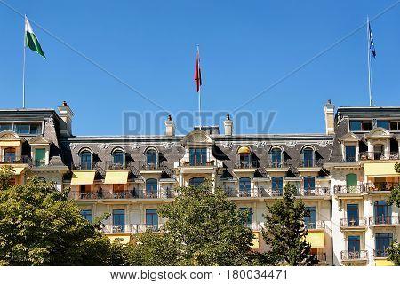 Beau Rivage Palace Hotel At Lake Geneva Promenade Lausanne