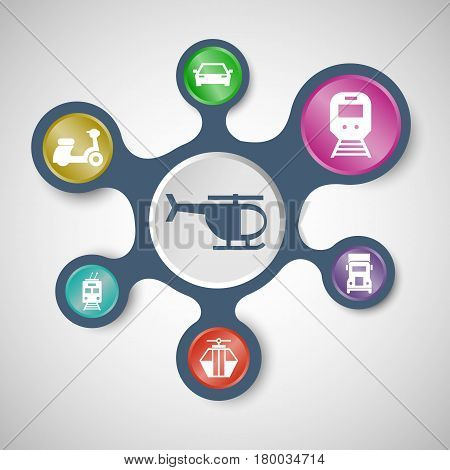 Transportation infographic templates with connected metaballs, stock vector