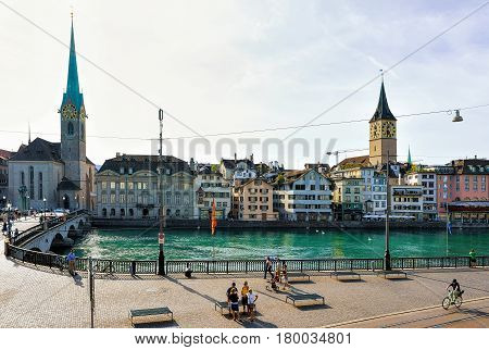 Embankment Of Limmat And St Peter Church And Fraumunster Zurich
