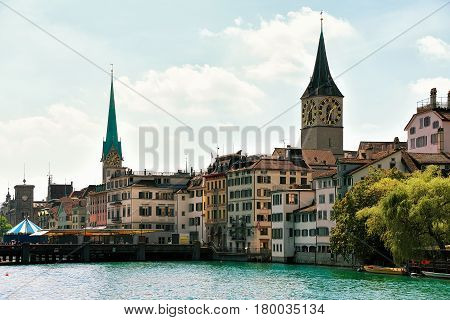 Limmat River Quay And Saint Peter And Fraumunster Church Zurich