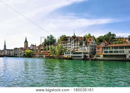 Limmat River Quay And St Peter And Fraumunster Church Zurich