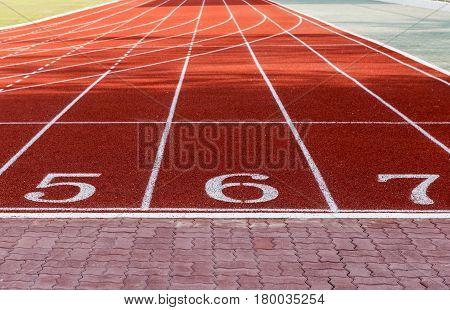 Athlete Track Or Running Track With Numbers 5 To 7.
