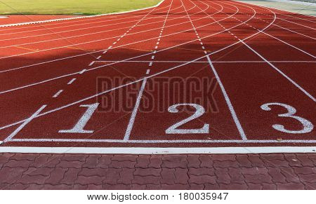 Athlete Track Or Running Track With Numbers 1 To 3