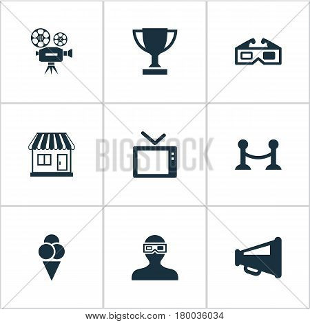 Vector Illustration Set Of Simple Movie Icons. Elements Trophy, Sorbet, Spectator And Other Synonyms Fence, Sundae And Trophy.