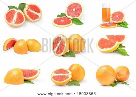Group of grapefruit on a white background clipping path