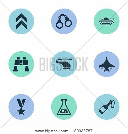 Vector Illustration Set Of Simple Battle Icons. Elements Molotov, Manacles, Sky Force And Other Synonyms Rank, Fighter And Bomb.