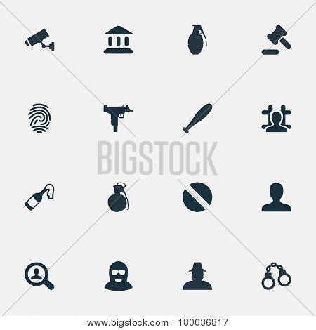 Vector Illustration Set Of Simple Fault Icons. Elements Hammer, Explosive, Investigation And Other Synonyms Baseball, Stick And Tribunal.