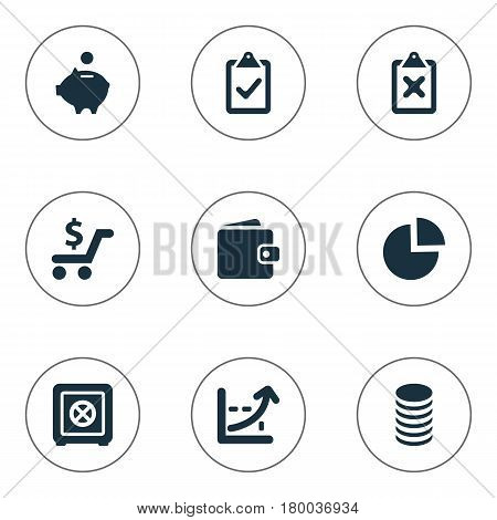 Vector Illustration Set Of Simple Investment Icons. Elements Cross On Clipboard, Spending, Segmentation And Other Synonyms Check, List And Spending.