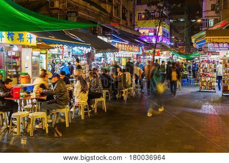 Street Restaurants In Hong Kong At Night