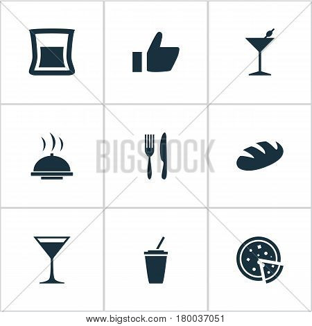 Vector Illustration Set Of Simple Cafe Icons. Elements Pepperoni, Glass, Food Tray And Other Synonyms Wineglass, Alcohol And Tray.