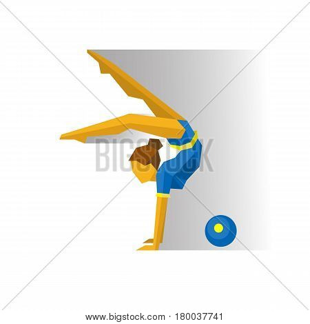 Rhythmic Gymnastics with Ball. Girl gymnast isolated on white background with shadows. International sport games infographic. Flat style vector clip art.