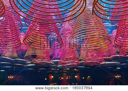 Inside Of The Tin Hau Temple In Hong Kong