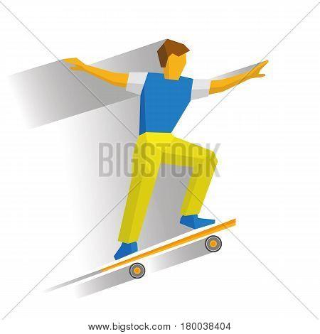 Skateboarder jump on skateboard. Skater doing tricks on board. Flat style vector clip art isolated on white background.