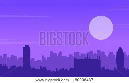 Silhouette of London building scenery collection illustration