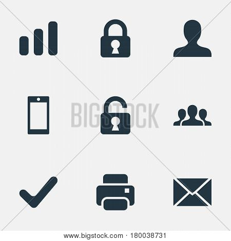 Vector Illustration Set Of Simple Practice Icons. Elements Statistics, Lock, Smartphone And Other Synonyms Printer, Printout And User.