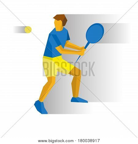 Summer games - Big Tennis. Player with racket isolated on white background with shadows. International sport games infographic. Flat style vector clip art.