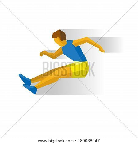 Long Jumping athlete isolated on white background with shadows. International sport games infographic. Track-and-field athletics, flat style vector clip art.