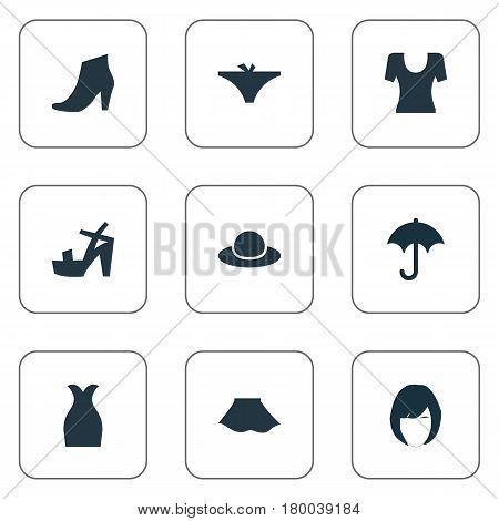 Vector Illustration Set Of Simple Garments Icons. Elements Brolly, T-Shirt, Hairdressing And Other Synonyms Hairdressing, Hat And Protect.