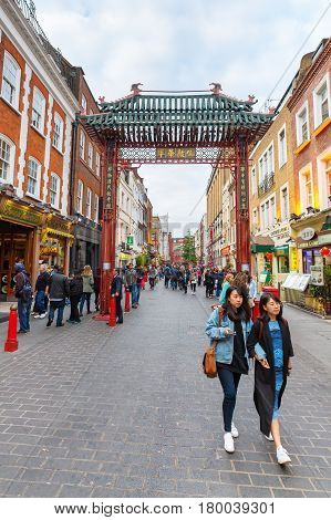 Street Scene Of Chinatown In London, Uk