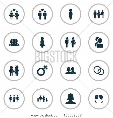 Vector Illustration Set Of Simple Lovers Icons. Elements Alternative, Spouse, Rings And Other Synonyms Madame, Marriage And Couple.