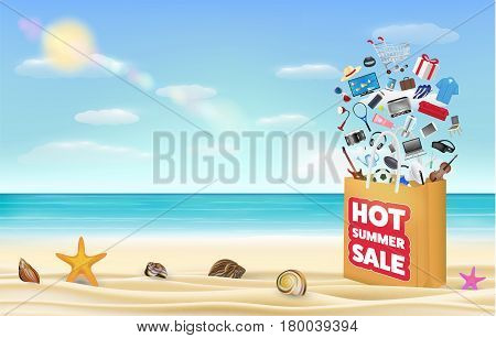 hot summer sale shopping bag with many product floating over on a sea sand beach