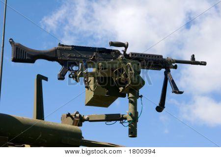 United States Machine Gun 7.62mm M240 belt-fed medium machine gun poster
